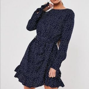 Navy Ruched Button Side Polka Dot Dress